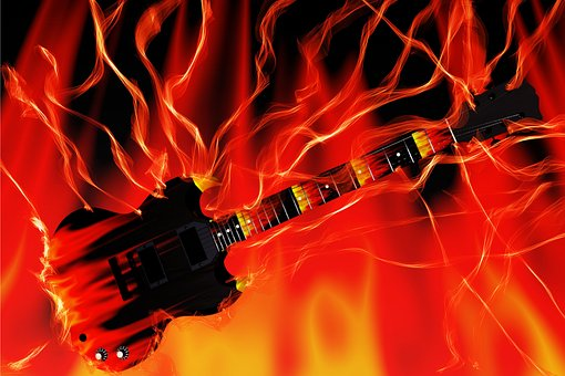 Guitar, Fire, Flame, Flame Log Fire, Burn, Fireplace