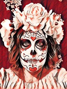 Day Of The Dead, Skeleton, Sugar Skull, Halloween