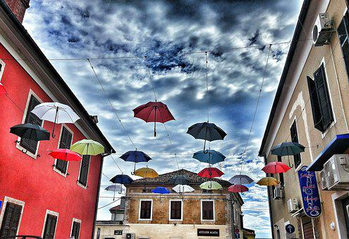 Umbrella, Screens, Sky, Clouds, Colorful, Home, Window
