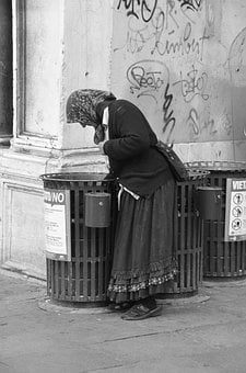 Poverty, Woman, Road, Garbage Can, Hungry, Waist