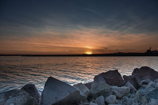 Burgas, Sea, Sunset, Bulgaria, Water, Black, Landscape