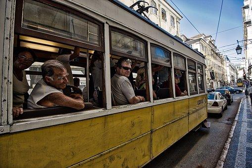 Portugal, Tramway, Classic, Lisbon, Tram, Urban, Street