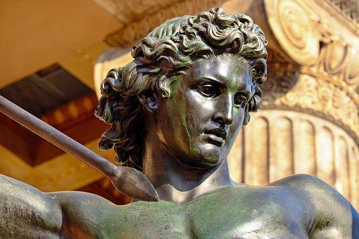 Sculpture, Bronze, Man, Lions Fighter, Lance, Fig
