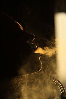 Smoke, Hookah, Tobacco, Man, Silhouette, Girl, Model