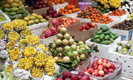 Viet Nam, Market, Grapefruit, Pittaya, Mango