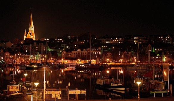 Port, Flensburg, Booked, Fjord, Night, Citylights