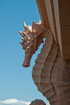 Seahorse, Statue, Design, Architecture, Travel