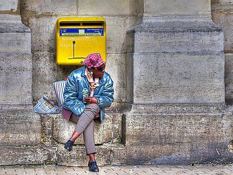 Woman, Beer, Mailbox, Street, Lille