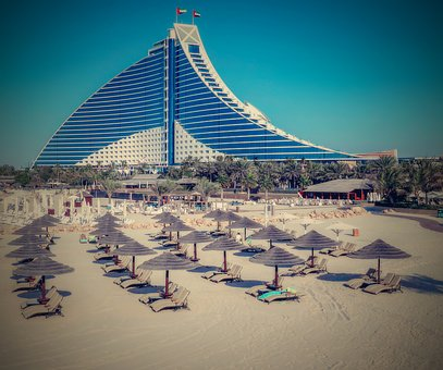 Dubai, Hotel, Beach, Bathing, Sunbathing, Water