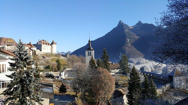 Switzerland, Mountain, Bell Tower, Landscape, Gruyeres