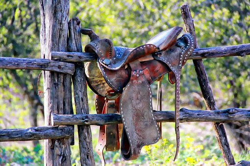 Weathered Saddle, Dude Ranch, Texas