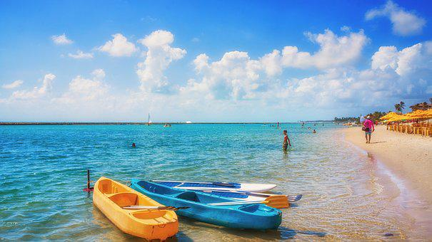 Beach, Mar, Ocean, Sky, Umbrella, Yellow, Blue, Green