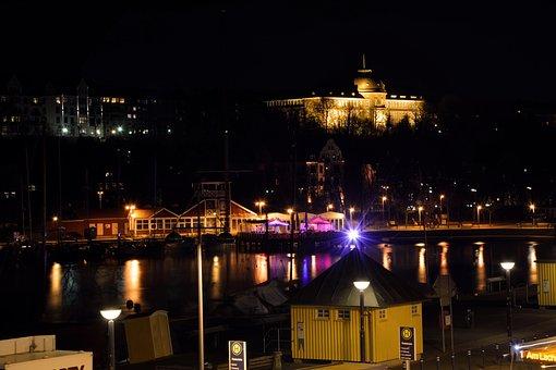 Port, City, Night, Lights, Winter, Water, Ship, Boot