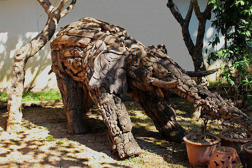 Elephant, Art, Wooden, Animal, Sunlight