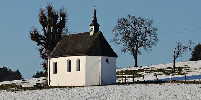 Chapel, Hill, Church, Sky, Landscape, Building