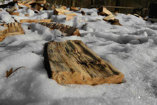 Wood, Log, Snow, Winter, Firewood