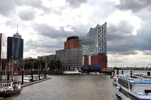 Hamburg, Elbe Philharmonic Hall, Boot, City View, Port