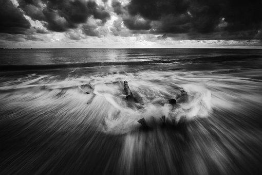 Black, White, Motion, Water, Sea, Sunrise