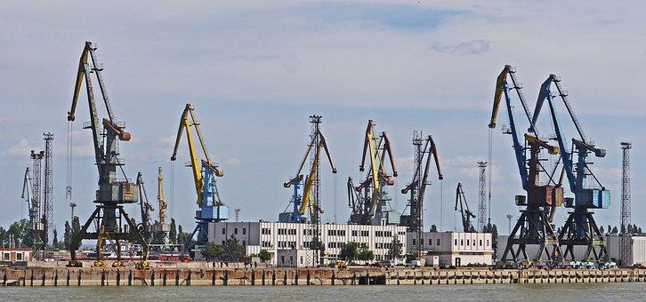 Port, Harbour Cranes, Lower Danube, Reni, Ukraine