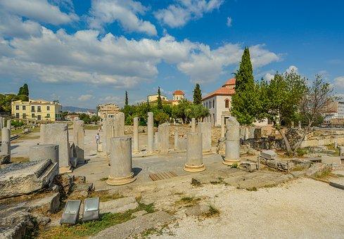 Athens, Columns, Ruins, Greece, Greek, Ancient, Agora