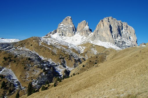 Sassolungo, Dolomites, Val Gardena, Step Gardena, Italy