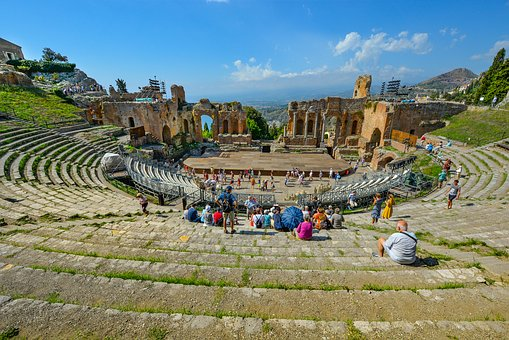 Taormina, Theater, Theatre, Greek, Sicily, Ruins