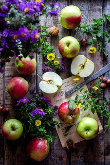Apples, Garden, Wooden Desk, Still Life, Apple Orchard