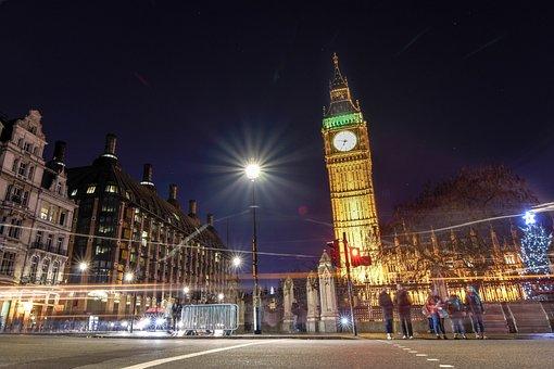 Big Ben, Clock Tower, Landmarks, Night View, The Night