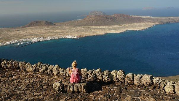 Lanzarote, Canary Islands, Panorama, Sea, Blue