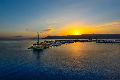 Messina, Sicily, Port, Harbor, Sunset, Sunrise