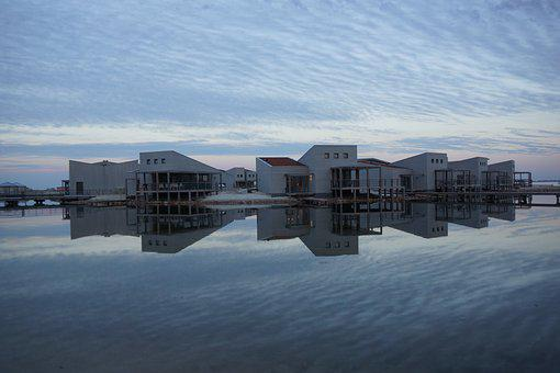 Beach, Ouddorp, Air, Reflection, Water, Clouds, Nature