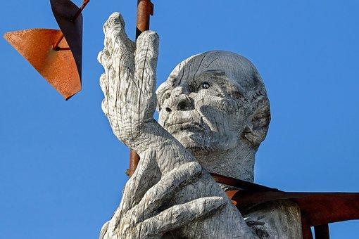 Sculpture, Wind Drill, Wood, Silver Fir, Tribe, Face