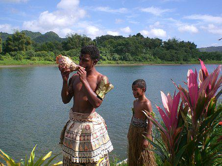Fiji, Ethnic, Conch Shell, River, South Pacific