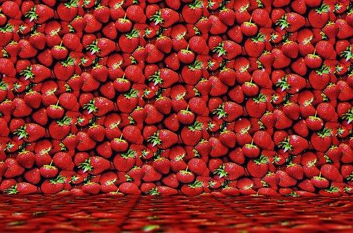 Background Image, Strawberries, Textile, Fruit
