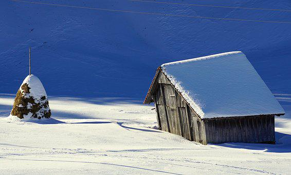Winter, Barn, Snow, Scale, Wood, Log Cabin, Nature