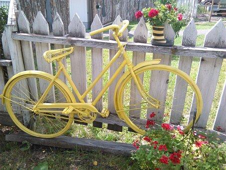 Bicycle, Yellow, Yard Art, Bike, Joyful