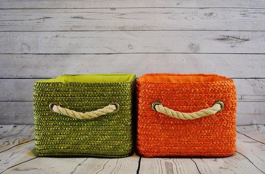 Baskets, Storage, Green, Orange, Basket, Cord