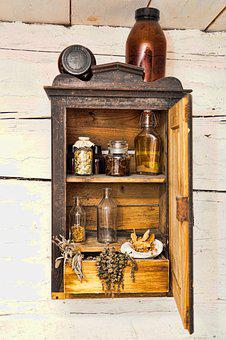 Wood, Cupboard, Jars, Spices, Drawer