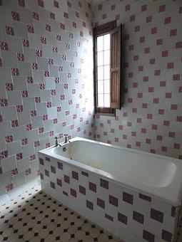 Bathroom, Modernism, Tiles, Bathtub, Vintage, Old