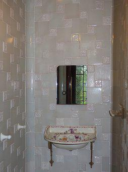 Sink, Bathroom, Old, Porcelain, Tile, Tiles, Modernist