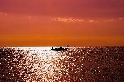 Sunset, Boat, Shadow, Sunset Colors, Sea, Sky, Nature