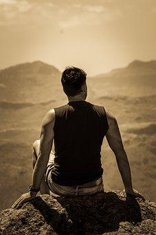 Man, Mountains, Canary Islands, Sepia