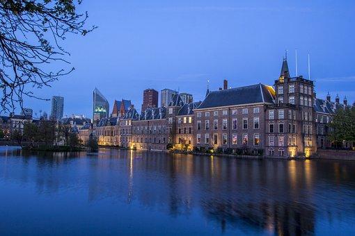The Hague, Center, Courtyard, Evening, Water, Skyline