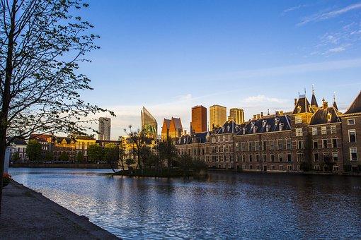 The Hague, Center, Courtyard, Skyline, Water