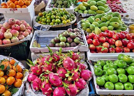 Viet Nam, Market, Fruit, Vegetables, Etal, Exotic