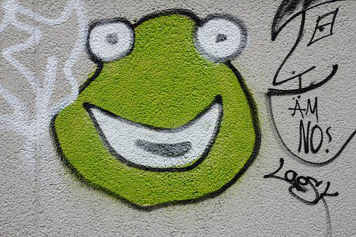 Graffiti, Frog, Green, Wall, Close