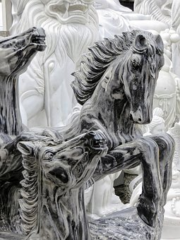 Viet Nam, Marble, Statues, Horses, Veined Marble