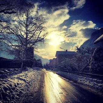 Road, Back Light, Reflection, Infrastructure, Mood