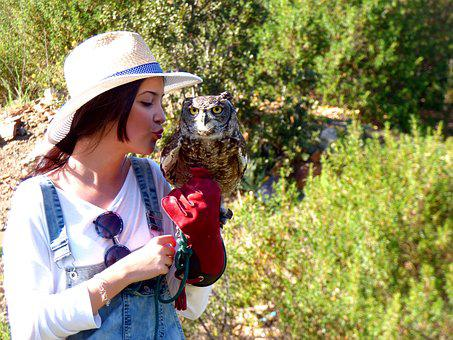 Owl, Ave, Bird Of Prey, Girl, Kiss, Falconry, Eyes, Hat