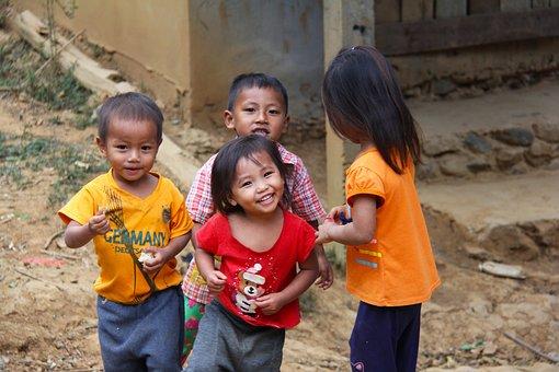 Cute, Little, Young, Girl, Boy, Happy, Walking, Laos